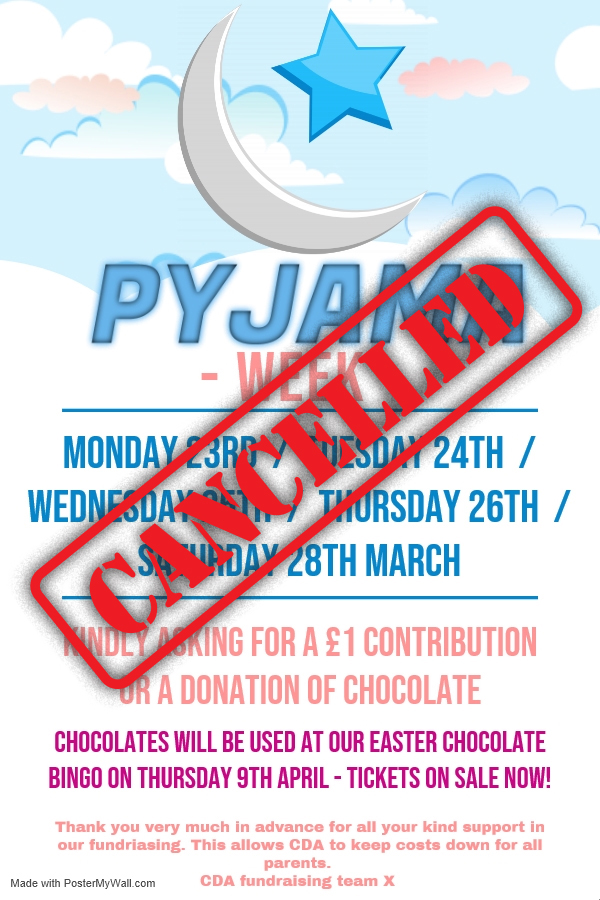Cancelled – Pyjama Week 2020 – Cancelled
